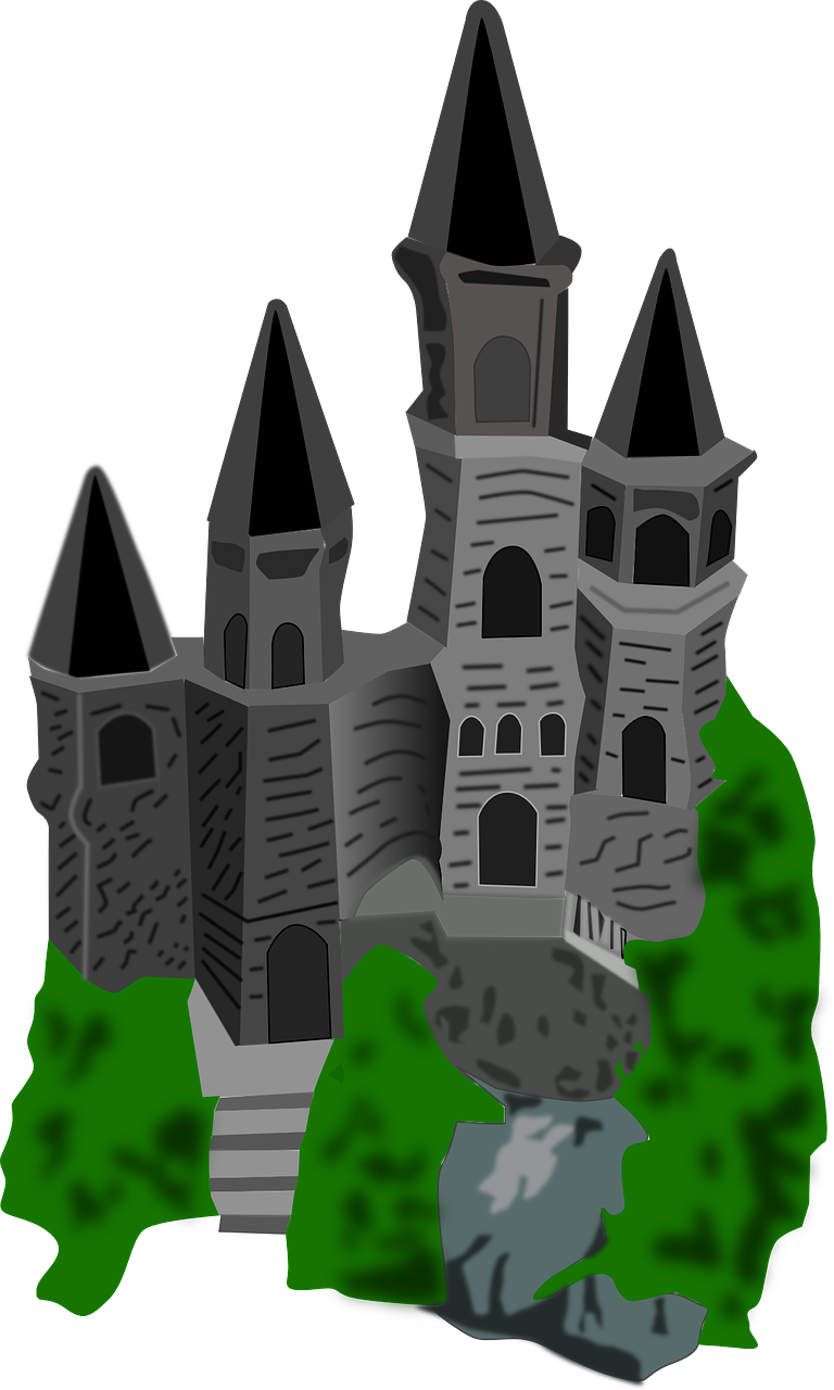 Castle clip tower. Drawing cartoon palace towers