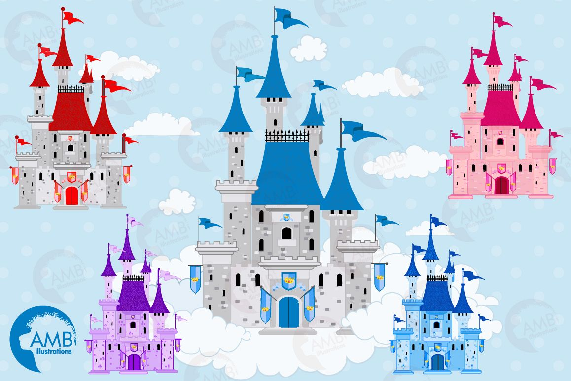 Castle clipart fairytale castle. Graphics ill design bundles