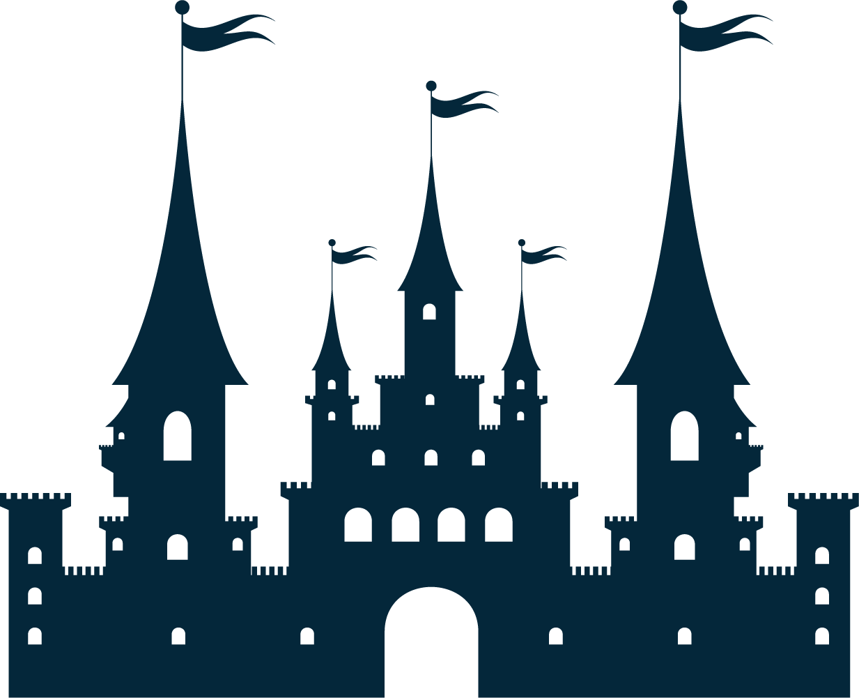 Castle clip palace. Silhouette art the stately