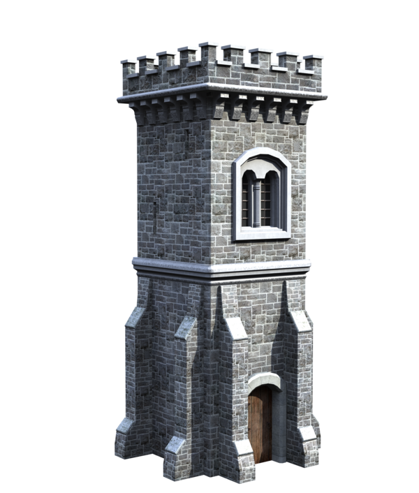 Castle tower png. Stock front side tall