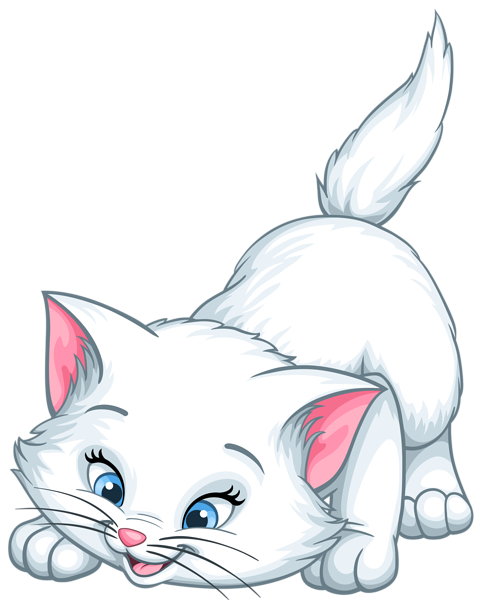 Laying ginger cats png. White kitten cartoon clip