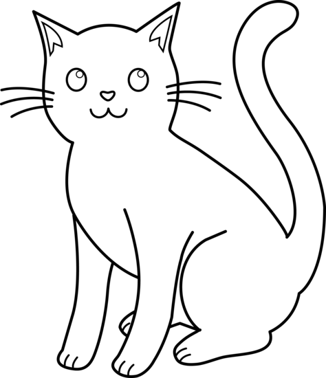 Cat clip art. White kitty line for