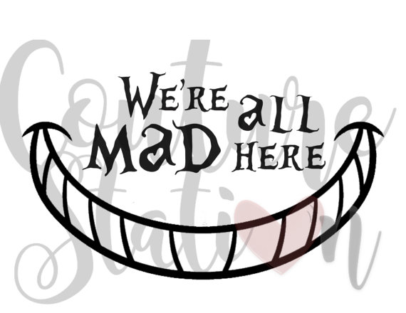We re all mad. Cat clip art alice in wonderland jpg black and white download