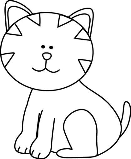 Drawing of a at. Cat clip art black and white clipart transparent stock