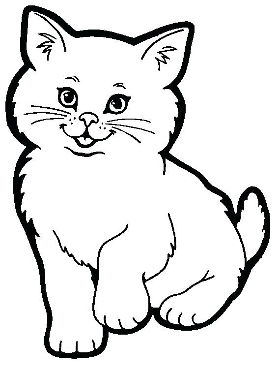Cat clip art black and white. Cute fat drawing at