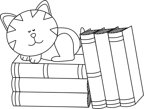 Sleeping on books. Cat clip art black and white vector library