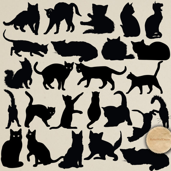 Cat clip art cat silhouette. Cats silhouettes digital animal
