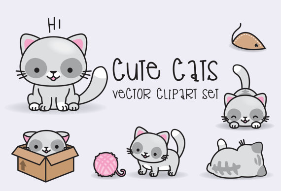 Cat clip art cute. Premium vector clipart kawaii