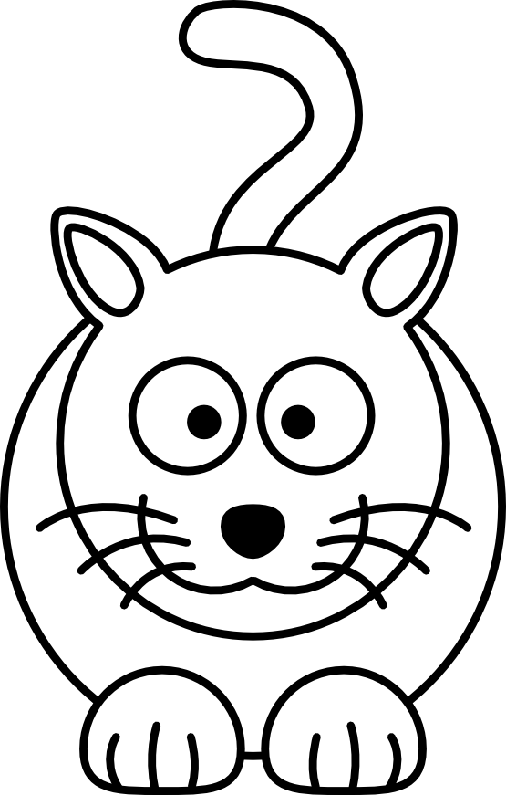 Free cartoon drawings line. Cat clip art easy picture