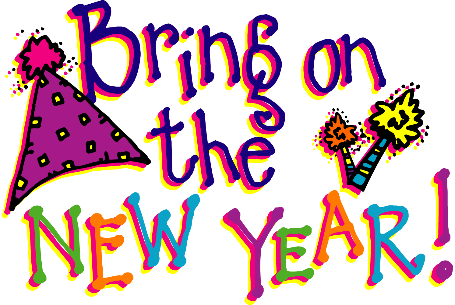Cat clip art happy new year. Free download on years