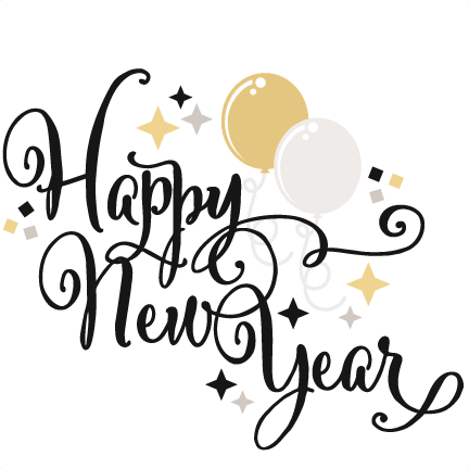 Cat clip art happy new year. Free download on banner