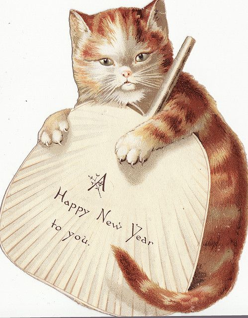 Cat clip art happy new year. Tabby cats and vintage