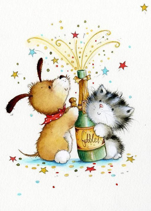 Cat clip art happy new year. Best bonne ann