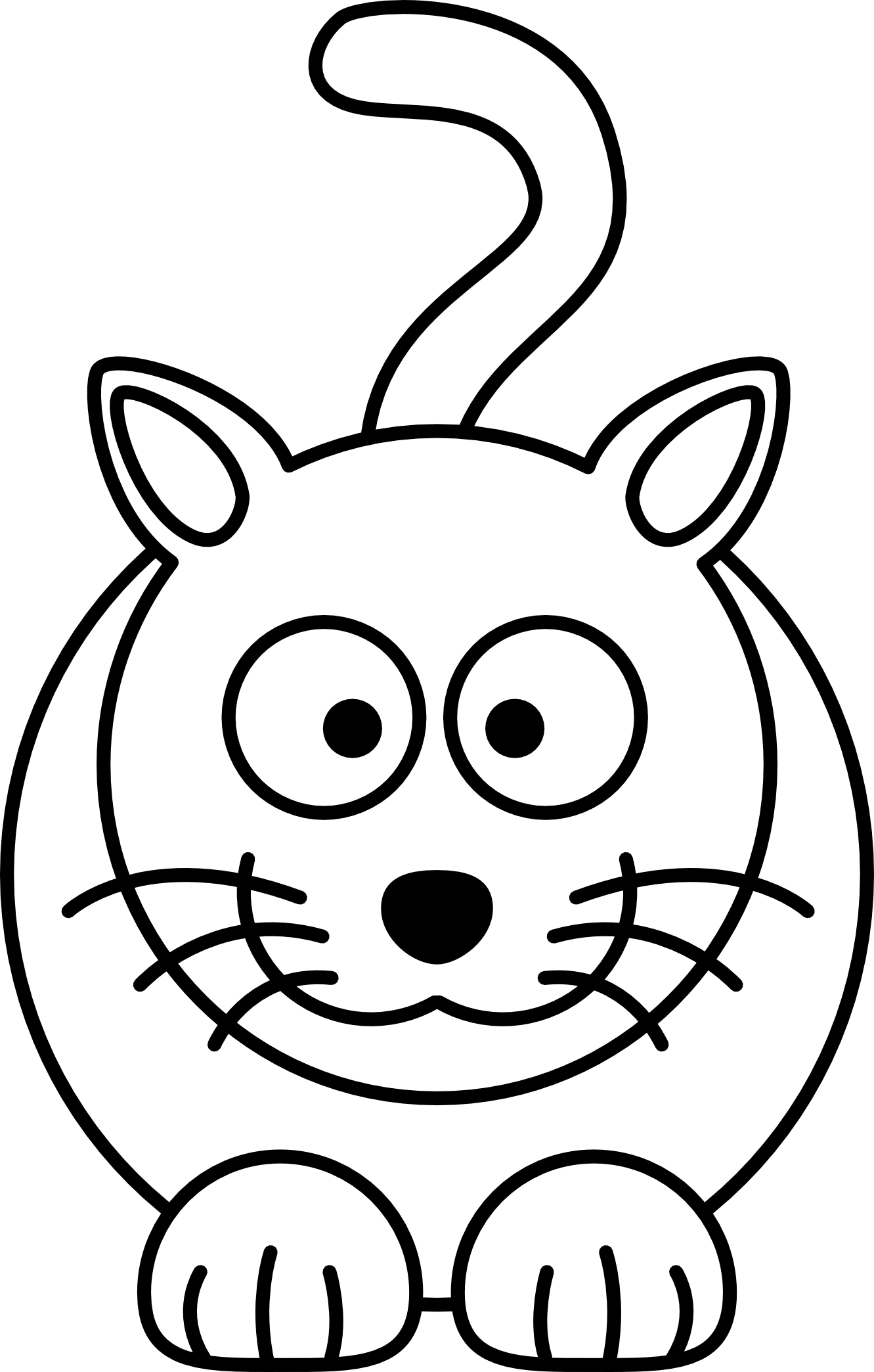 Cat clip art simple. Line drawing of at
