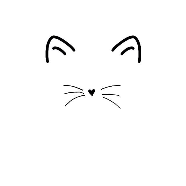 Cat clip art simple. Face tattoo outline illustrations