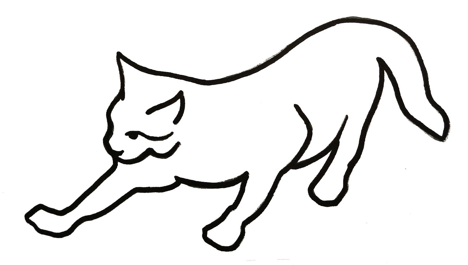 Cat clip art simple. Picture of line drawing