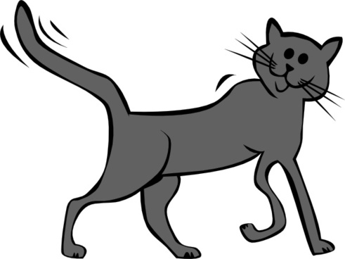 Cat clip art simple. Cartoon free vector download