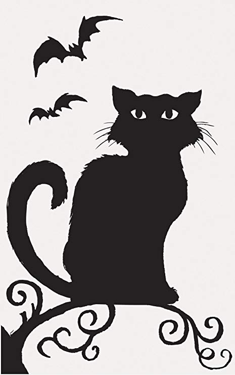 Hollow halloween window decoration. Cat clip art spooky black black and white