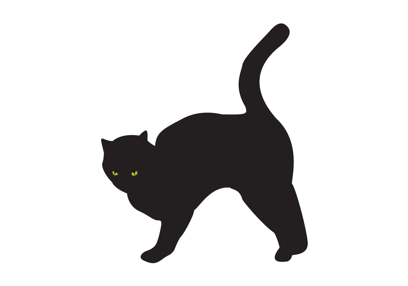 Cat clip art spooky black. And white silhouette at