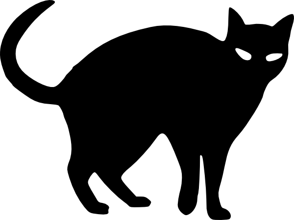 cat clip art spooky black