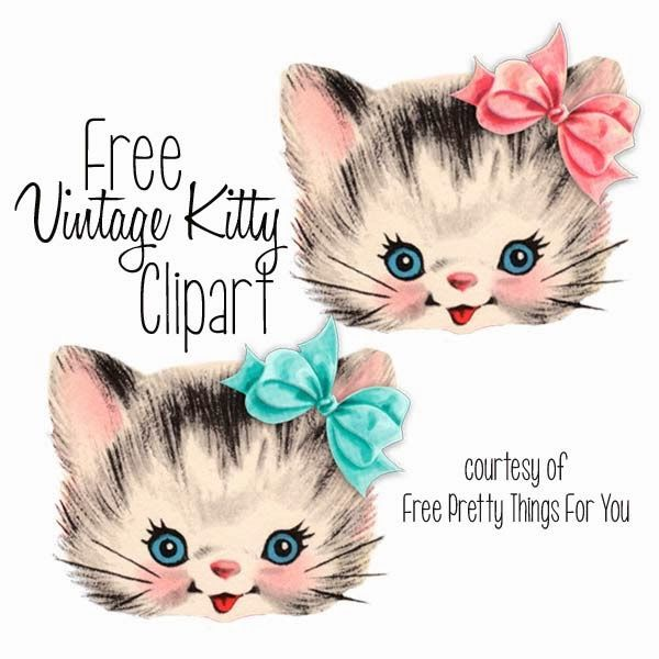 Cat clip art vintage. Cats kitties clipart kitten