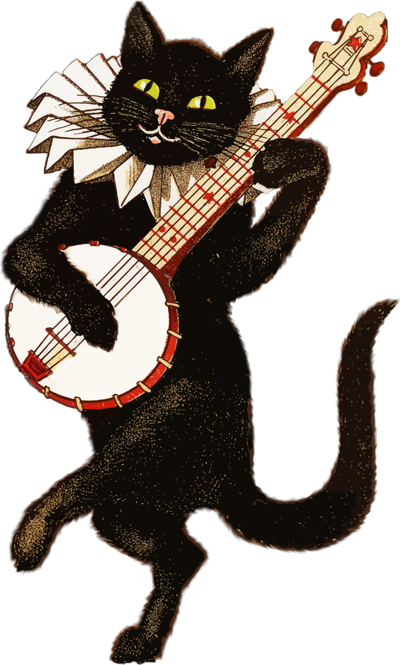 Cat clip art vintage. Clipart playing banjo big
