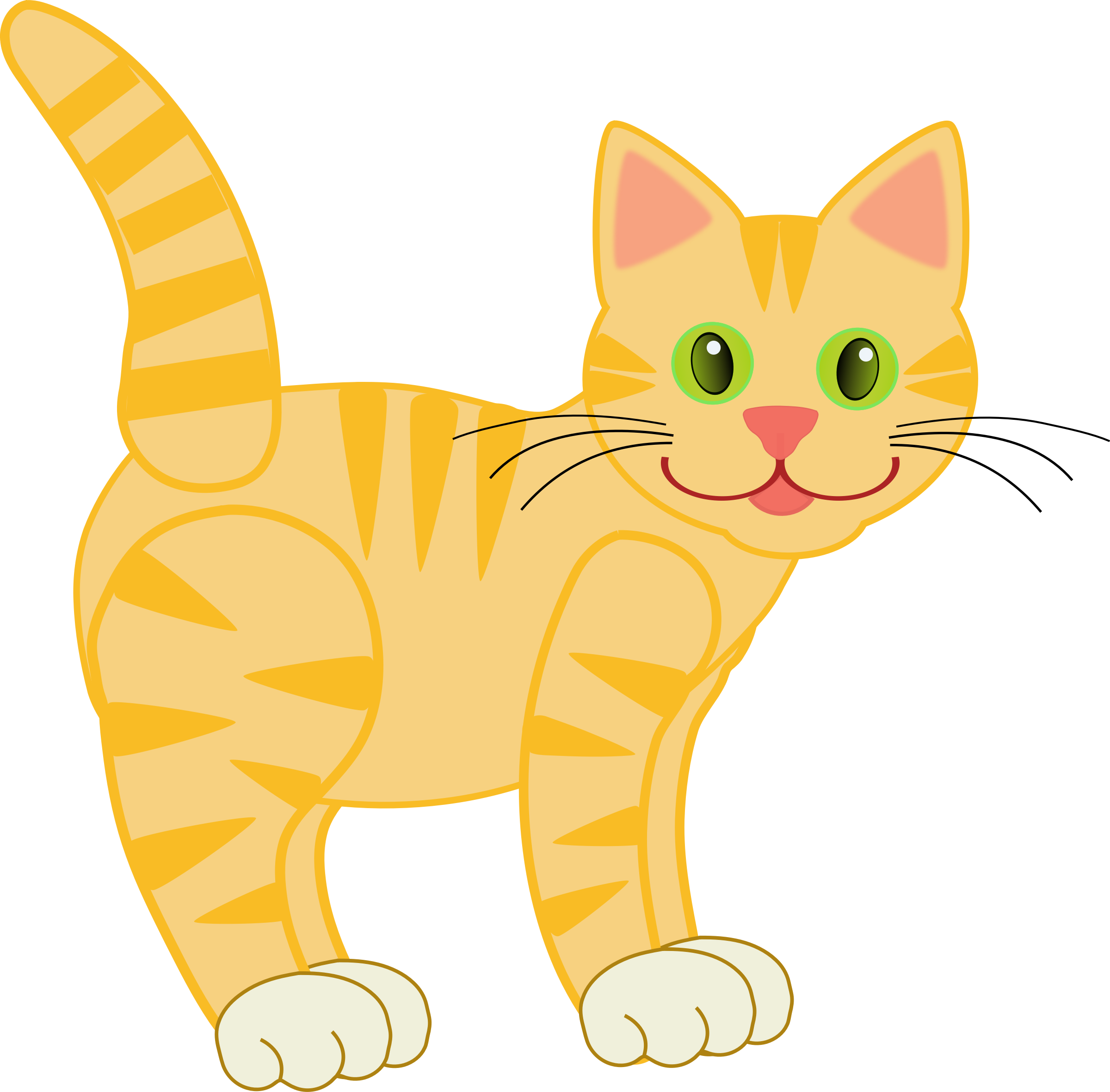 Balls clipart cat. Yellow tiger four legs