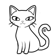 Clip art kitty line. Cat clipart black and white clipart download