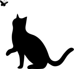 Illustration of a silhouette. Cat clipart black and white picture free stock