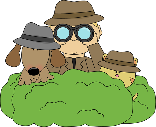 Cat clipart detective. Detectives in bushes from