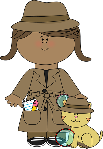 Little girl with clip. Cat clipart detective graphic free library
