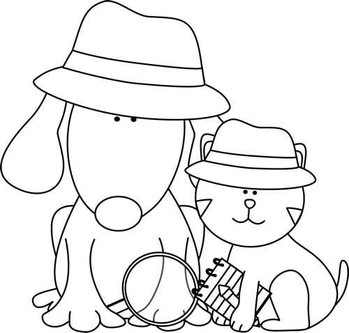 Cat clipart detective. Black and white dog