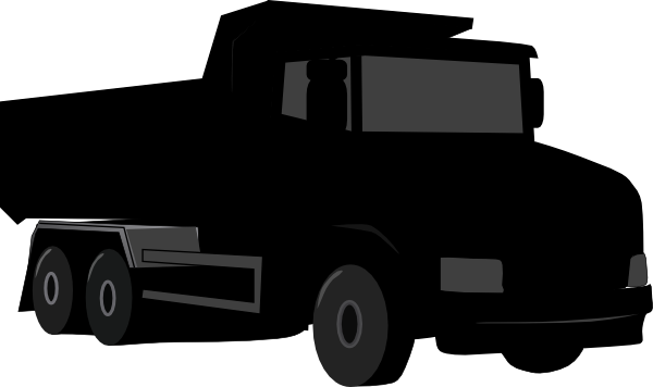 Black truck. Dump clipart and white