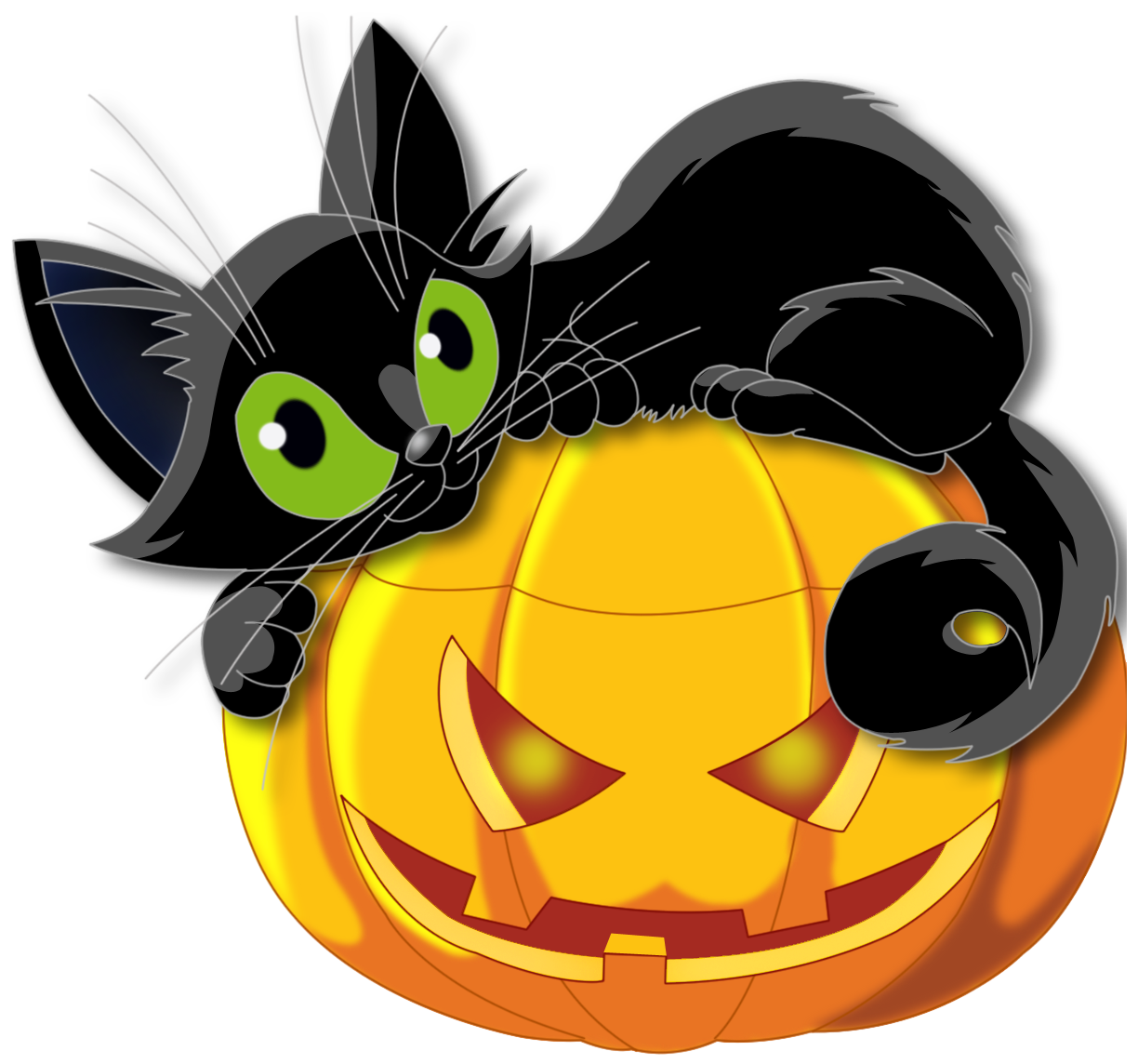 Halloween clipart cat. Large transparent pumpkin with