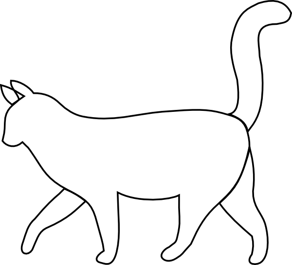 Cat outline png. White clip art at