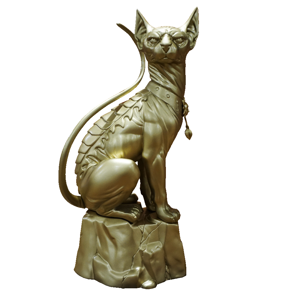 Cat statue png. Saga lying gold color