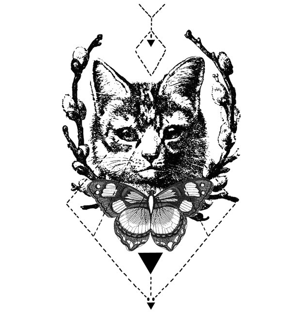 Drawing geometric black and white. Image butterfly cat in