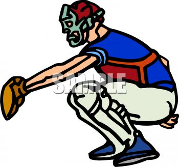 Royalty Free Clipart Image: Cartoon of a Catcher at Home Plate