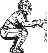 Catcher clipart. Baseball vector eps images clipart transparent stock