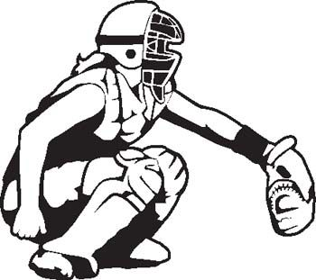 Catcher clipart. Softball silhouette at getdrawings