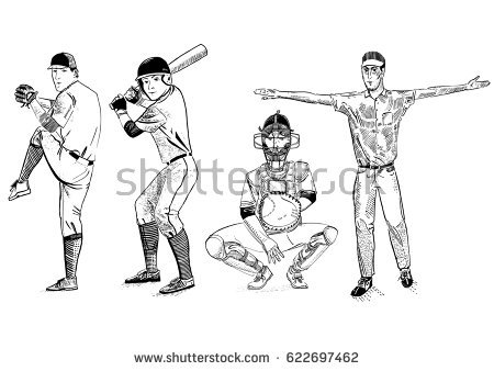 Catcher clipart umpire. Vector illustration baseball players banner royalty free