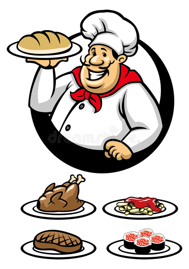 Chef presenting a plate. Catering clipart cook chinese stock
