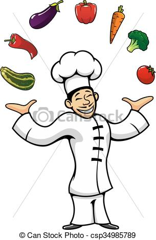 Catering clipart cook chinese. Asian chef juggling with image stock