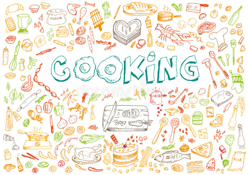 Catering clipart cooker. Cooking doodle art style jpg black and white library