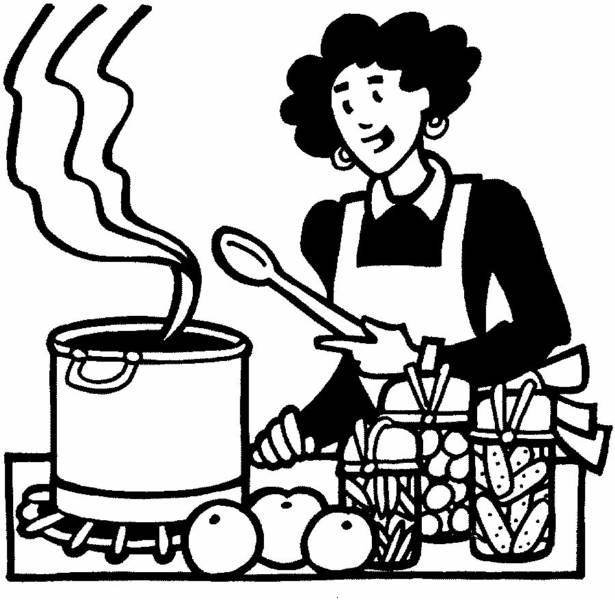 At the kitchen table. Catering clipart cooker clip art stock