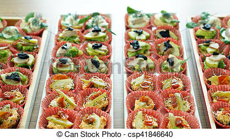 Catering clipart food served. Finger serve in tray svg library library