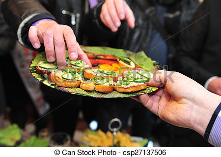 Preparation at the outdoor. Catering clipart food served free download