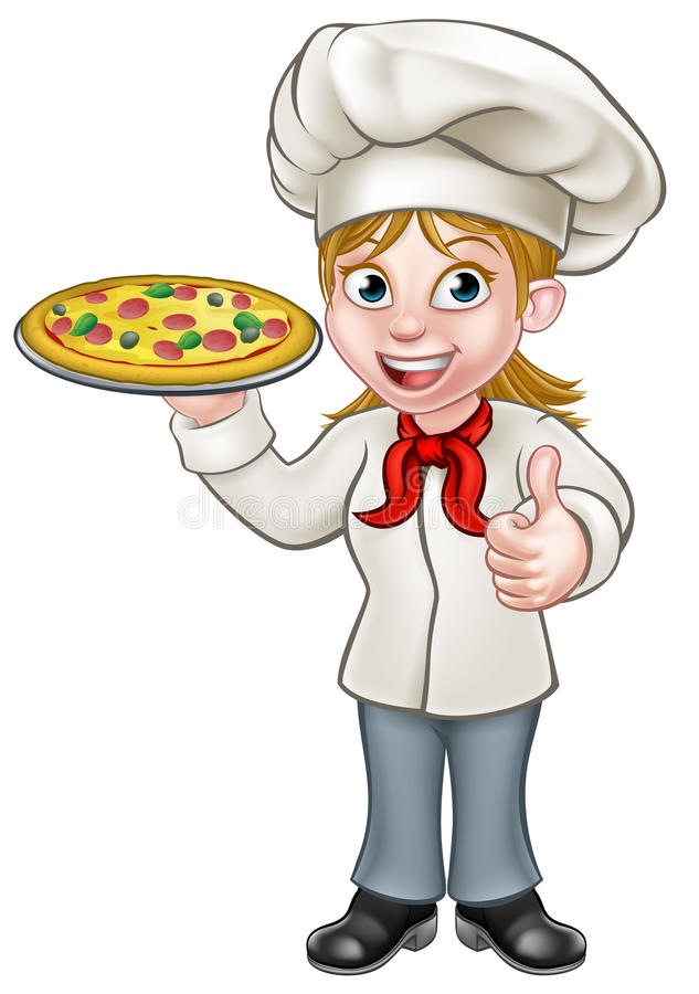 Female cartoon character stock. Catering clipart pizza chef banner free