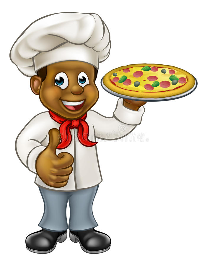 Black cartoon character stock. Catering clipart pizza chef image transparent stock
