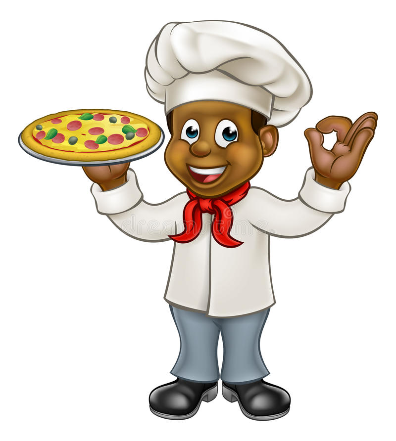 Catering clipart pizza chef. Black cartoon mascot stock png royalty free